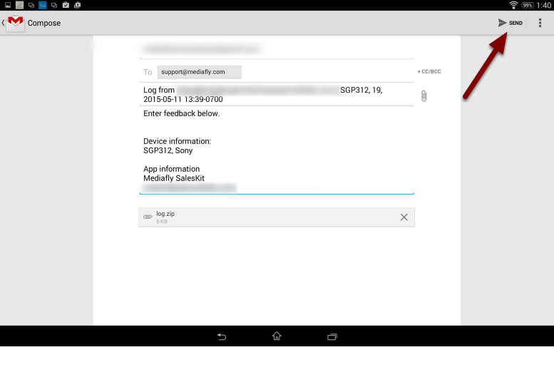 The Log information will pre-populate, just push Send.