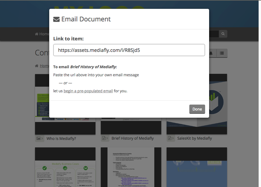 Pop up screen will provide options to either copy + paste the URL to share OR click link to create pre-populated email message