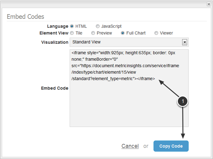 Step 3: Go to the Embed Codes dialog and Copy Code