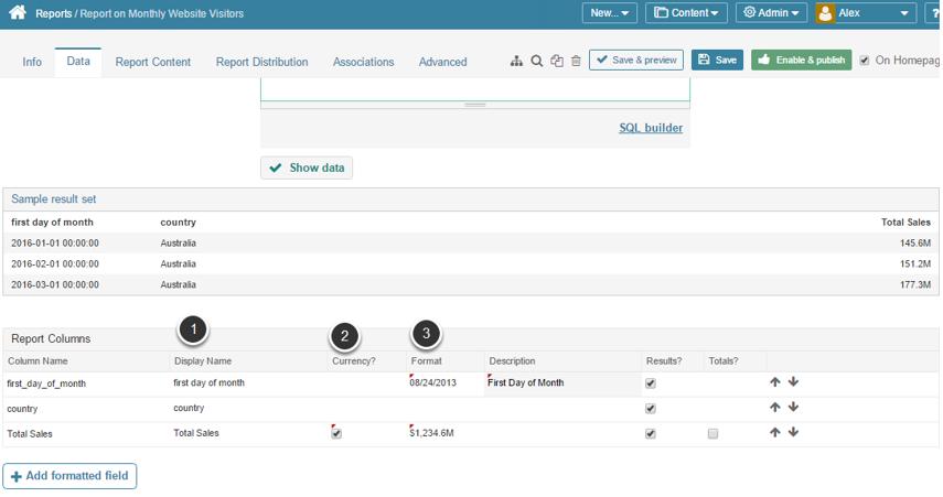 Modify Data Column Display Attributes