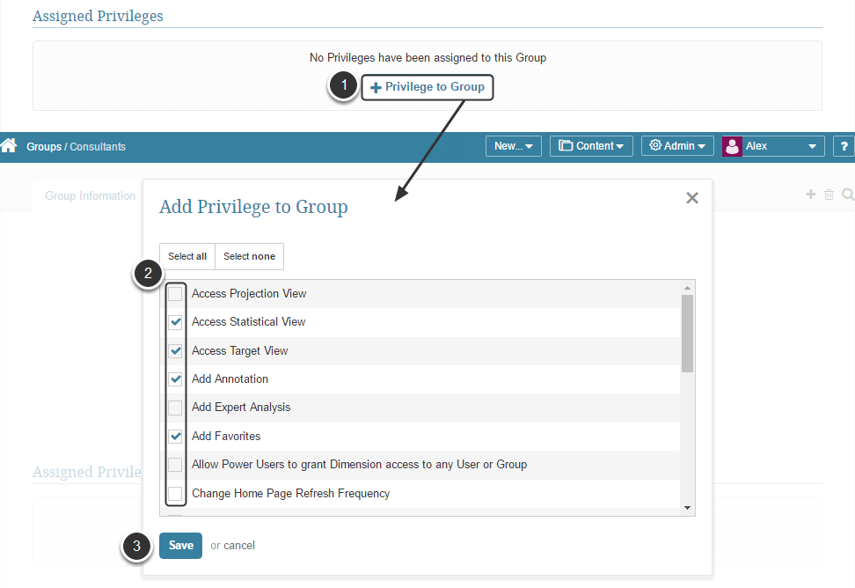 Assign Group Privileges