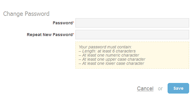 If you have been issued a temporary password,  the system will display the 'Change Password' window