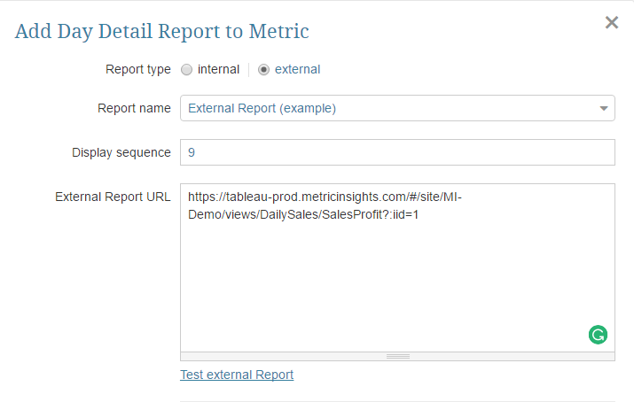 Add a link to a Report and Save your Entries.