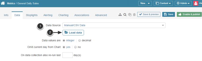Choose 'Manual/CSV Data' as a Data Source