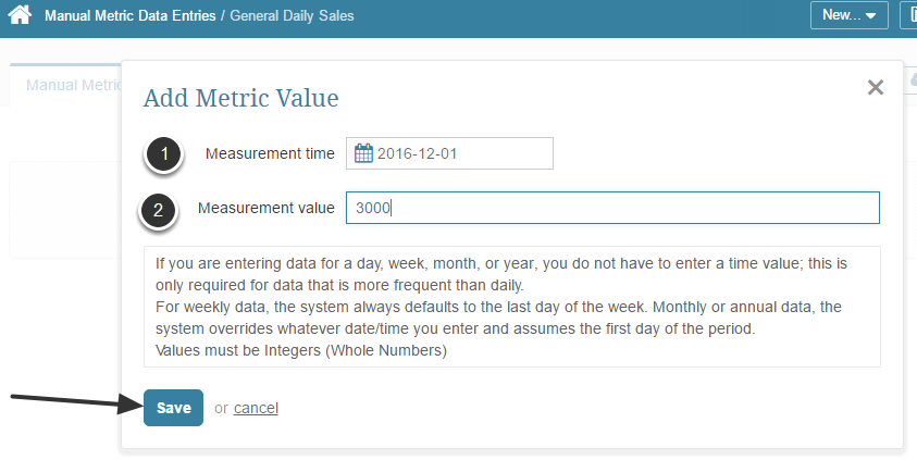 Open the Add Metric Value pop-up