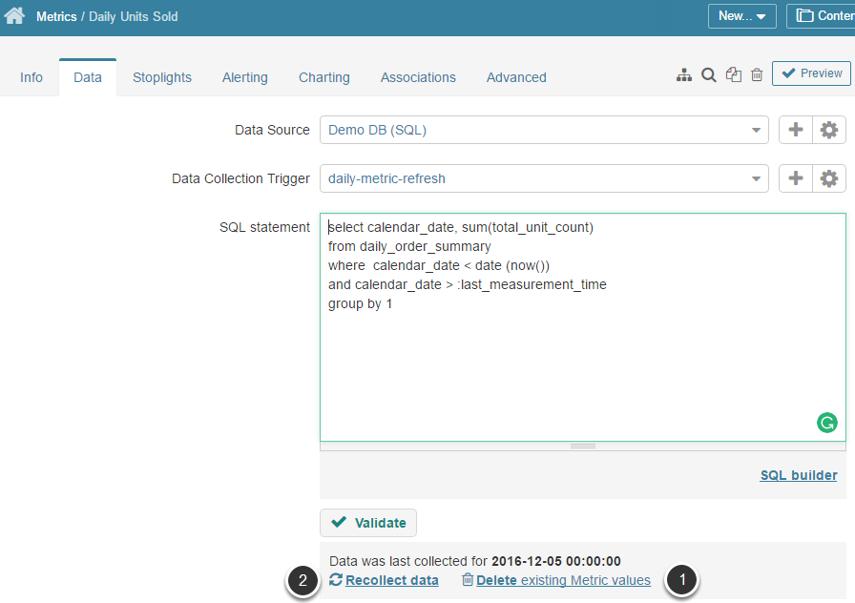 Access Metric Editor > Data tab