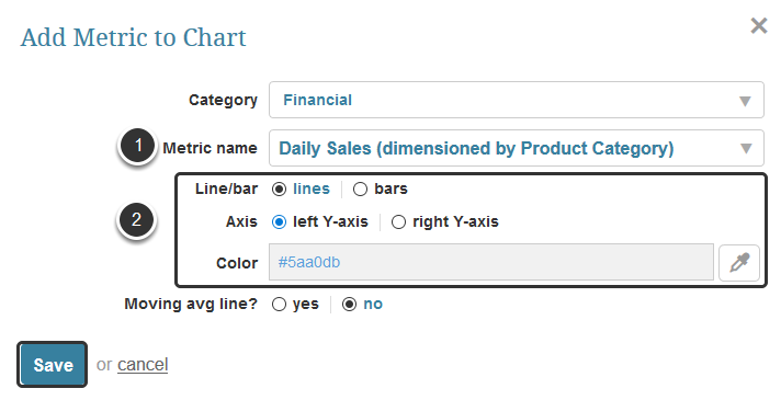 Select Metrics from the drop-down