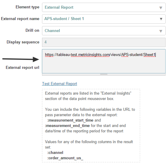 External Reports will display an additional field
