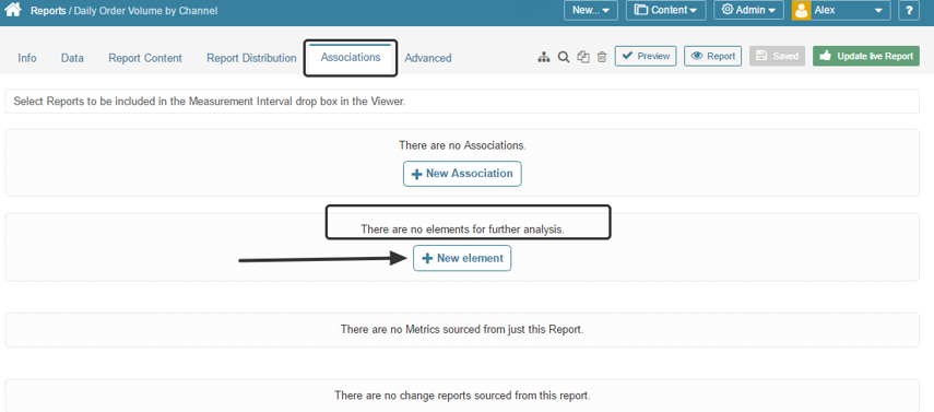 Access Report Editor > Associations tab