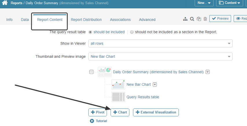 """From the Report Editor, click """"+ Chart"""" in the Report Content tab"""
