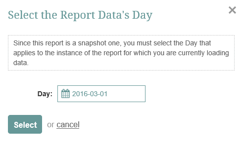 Select the date of your data