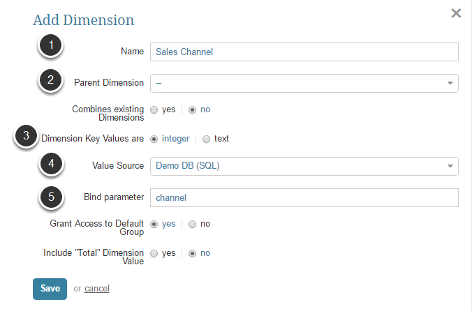 Enter Dimension Information