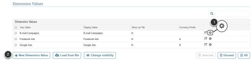 Access Content > Dimensions > select a Dimension