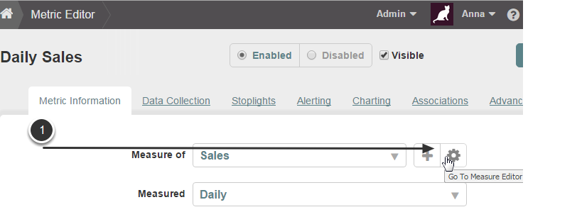 Access the Measure Editor from Report or Metric Editor