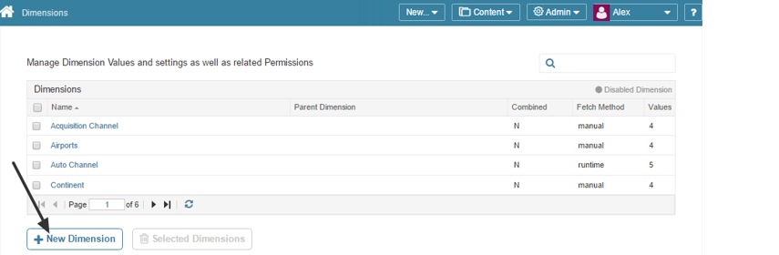 Access Content > Dimensions > [+ New Dimension]