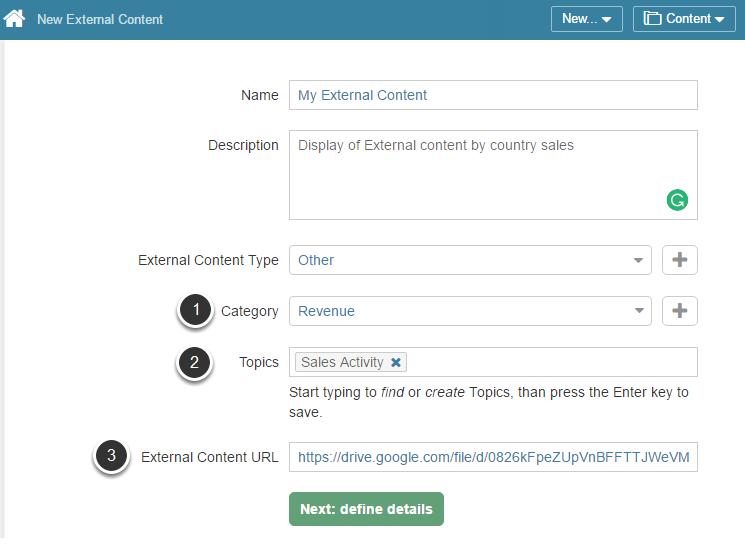 Access New > External Content