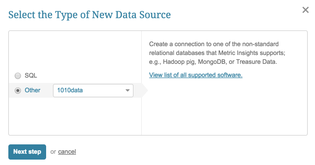 """Select """"Other"""" Data Source Type and choose """"1010data"""" from the drop-down"""
