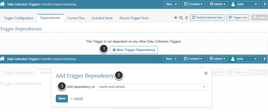Add a New Data Collection Trigger Dependency