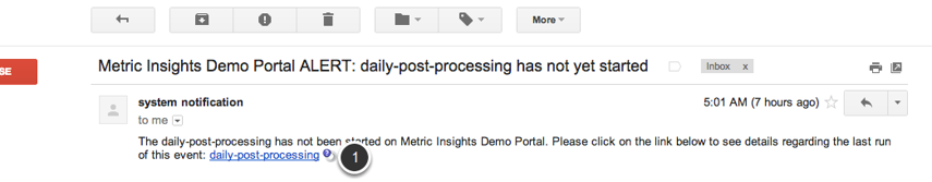 Example of an email you will receive if the data collection event does not start by the expected time