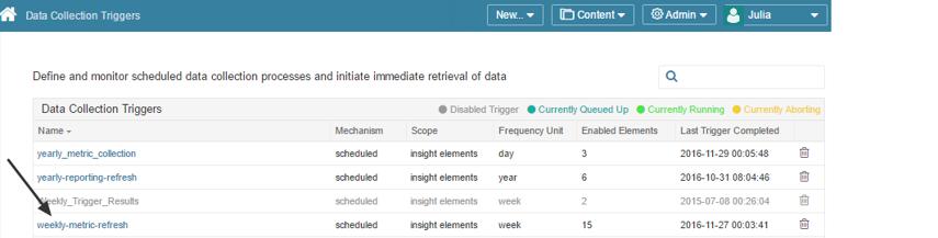 Access Data Collection Triggers via Admin menu > Data Collection Triggers