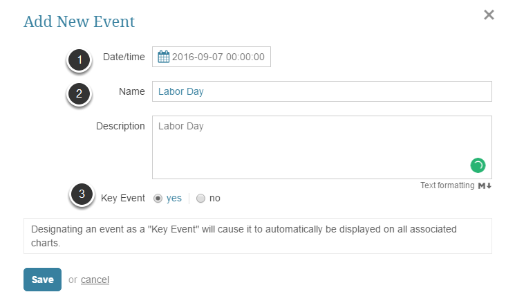 Provide information essential for creating an Event