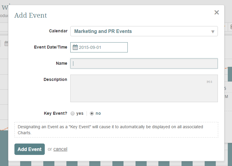 Provide information required to create a new Event