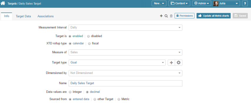 Defining Targets (Admin > Reference Objects > Targets > select a target from the list)