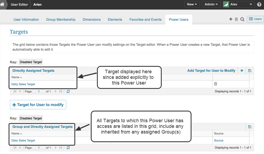 Check the Targets User Can Modify Grids