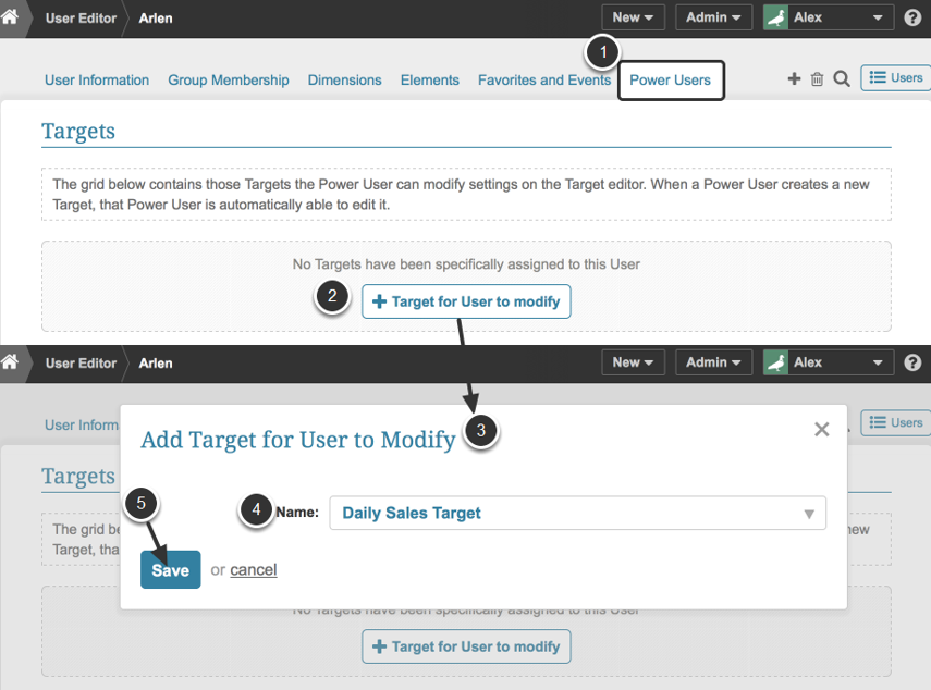 Add a Target for a User to modify