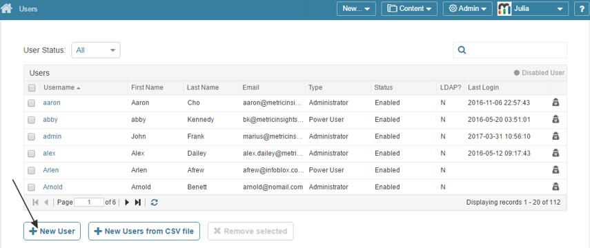Access Users list from Admin menu