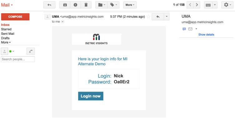 An example of a welcome email sent to a newly created User