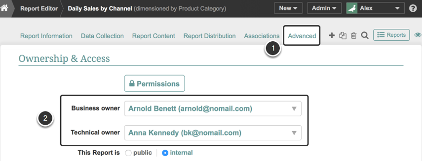 Access the Element Editor's Ownership settings