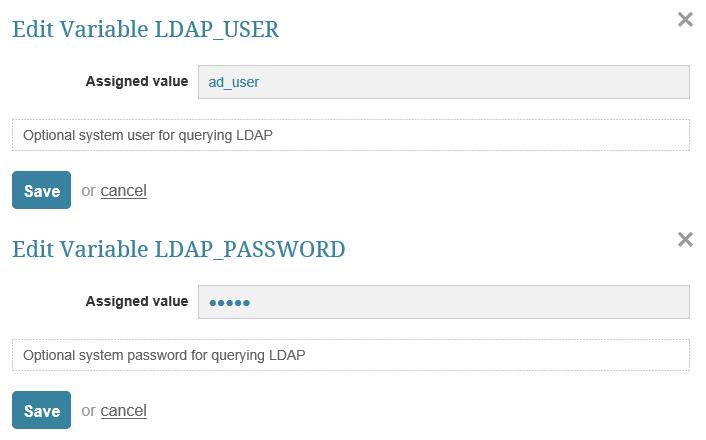 LDAP Username and Password