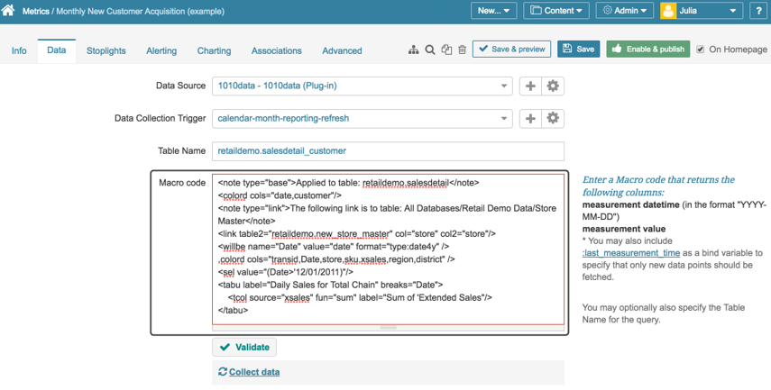 Paste your code into Metric Insights Metric Editor