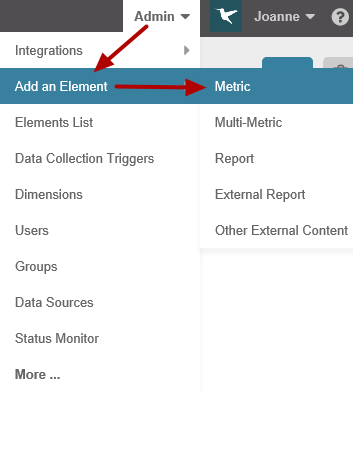 Add a new element based on your IBM Coremetrics plug-in data source