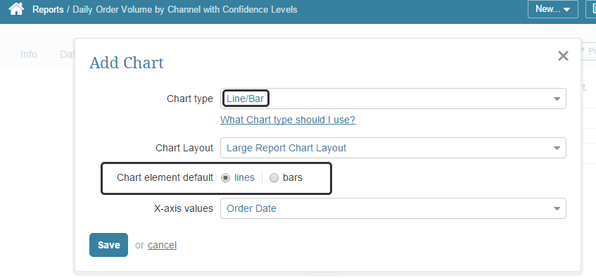 Add a line chart to your report