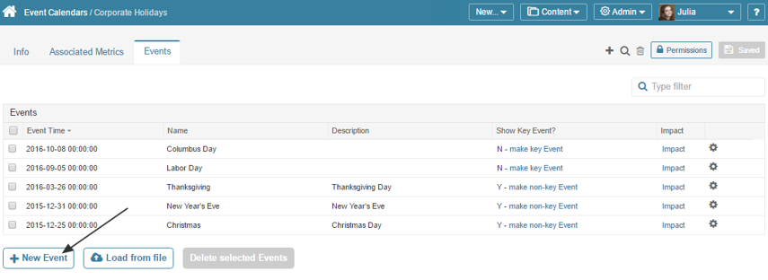 Access Admin > Event Calendar > select an item from the list > Events tab