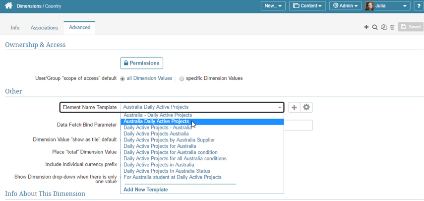 Open the 'Advanced' tab to review existing templates