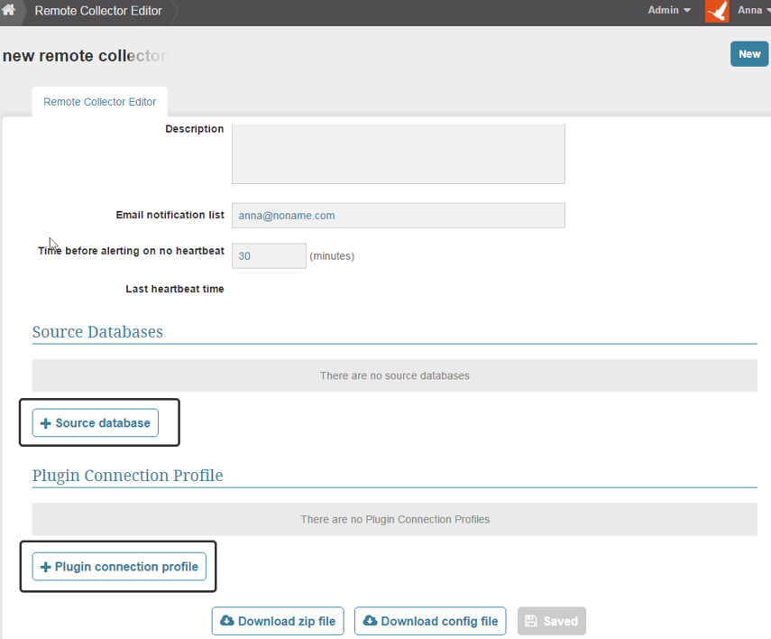 Add a SQL database or Plug-in data source to the remote data collector