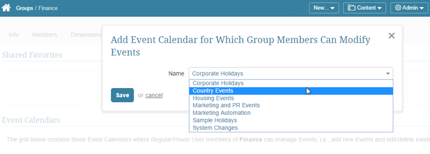 Select an Event Calendar from the drop-down list