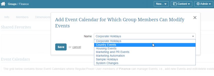 Select an Event Calendar from the drop-down list