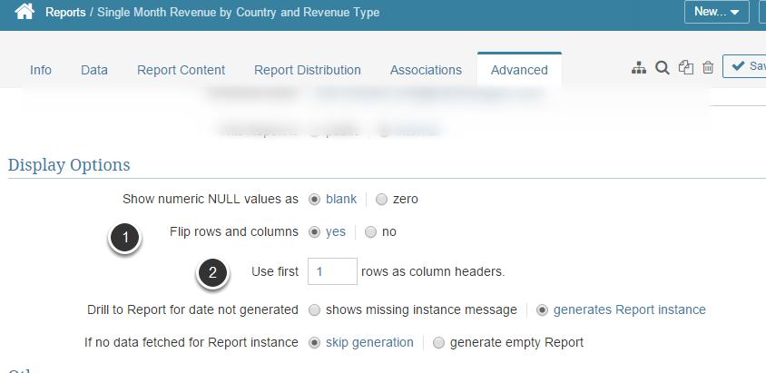 Return to Report Editor > Advanced tab