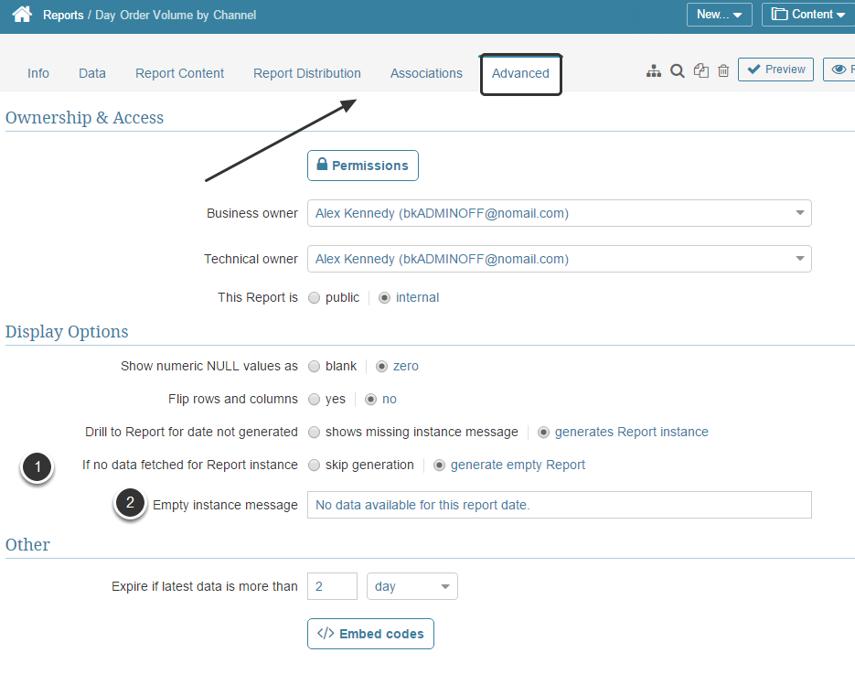 Configure the Report's Advanced Settings