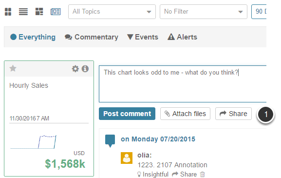 Example of using Share option when adding a Comment in News View
