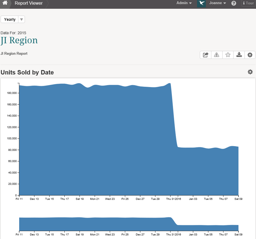 Completed Chart Displays in Report Viewer