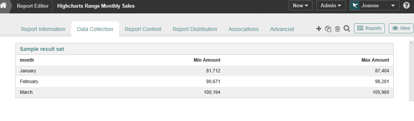 Choose a Report that contains range data