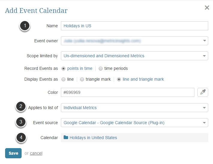Input Calendar Specifications