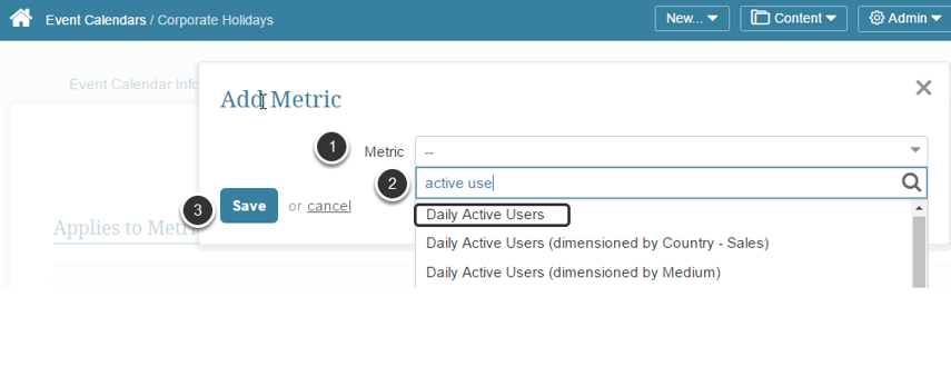 Add Associated Metrics to the Event Calendar