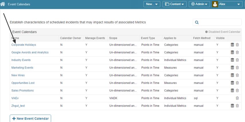 Access Admin > Event calendars