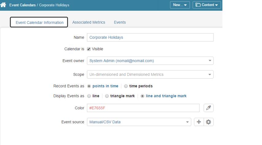 Review Event Calendar information tab